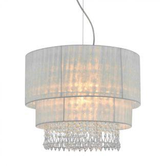 Lampa wisząca LETA ZUMALINE styl glamour / kryształ metal tkanina biały RLD93350-1W