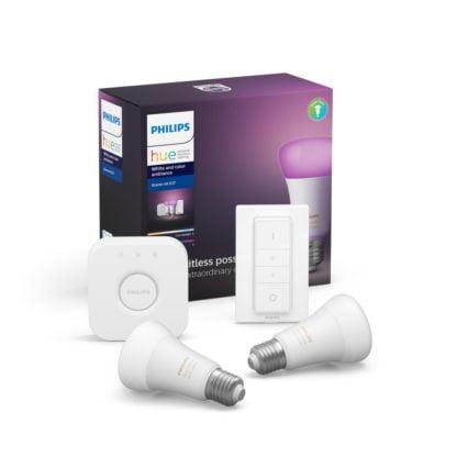 Zestaw oświetlenia inteligentnego LED HUE PHILPS 2xE27 White and color Ambience + mostek + regulator przyciemniania